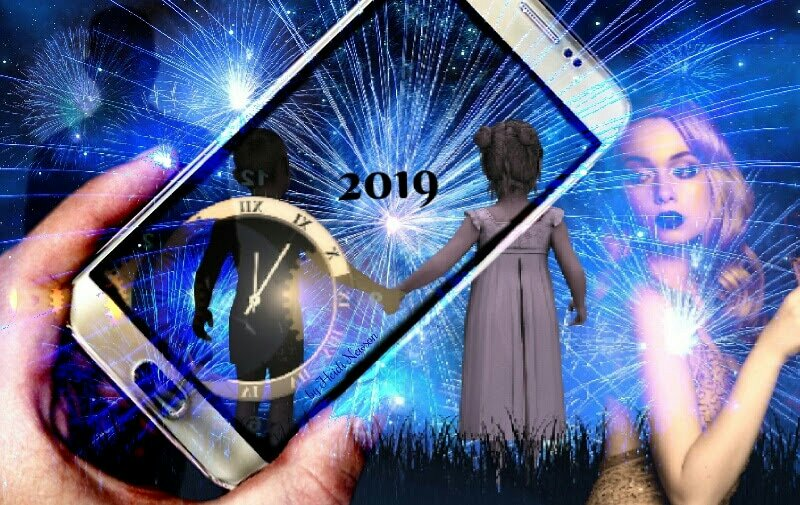 Looking through a mobile phone on new years eve with a boy and girl holding hands staring a new year 2019 with fireworks.