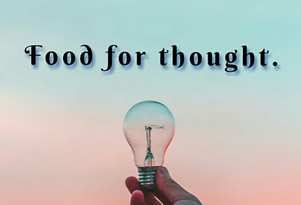 Food for thought text with an image of a hand holding a light bulb.