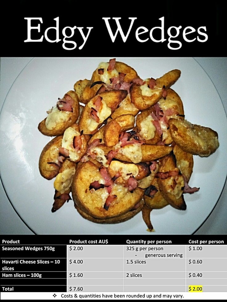 Edgy Wedges, seasoned wedges topped with cheese and ham