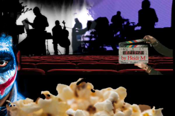 The musical movie reveals a dark twist in the plot with the addition of an actor. The emotion is expressed through artistic makeup and wardrobe, along with the verbal and acting expressed by the actor. The viewer is now part of the movie through virtual reality and experiences the performances on a deeper level, while eating popcorn.You only see the viewers popcorn as you are the viewer, in the scene.