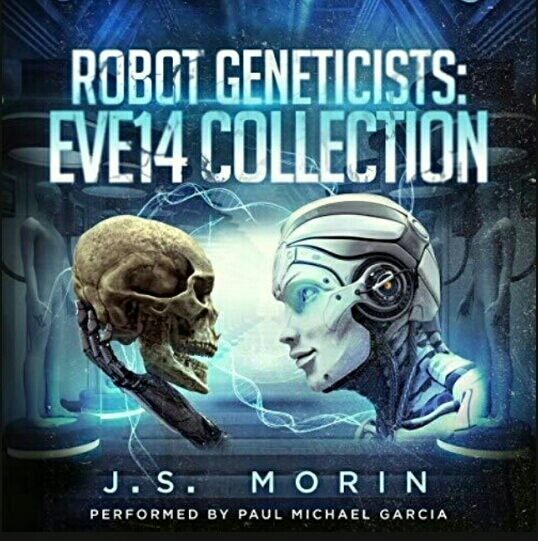 Book cover picture with a robot holding a human skull - Robot Geneticists Eve14 Collection