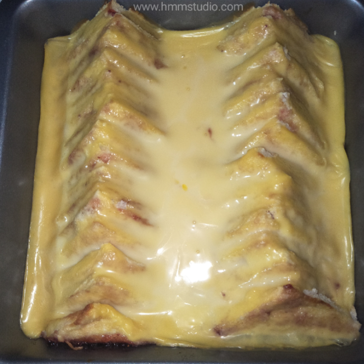 Bread and butter pudding in oven