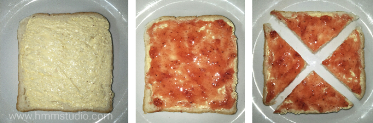 Slice of buttered bread and picture of it cut into triangles