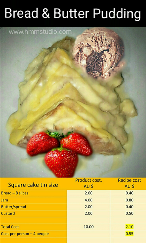 Bread and butter pudding image with a cost and quality table.