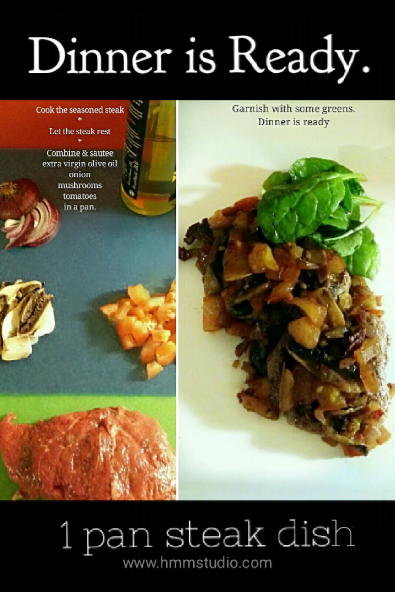 Dinner is Ready, a steak image with sautéed onion, mushrooms and tomatoes atop the steak. 1 pan dish