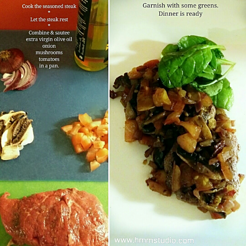 Ingredients and final steak fish - olive oil, onions, mushrooms, tomatoes and steak.