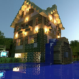 A mansion style Minecraft render build image.
