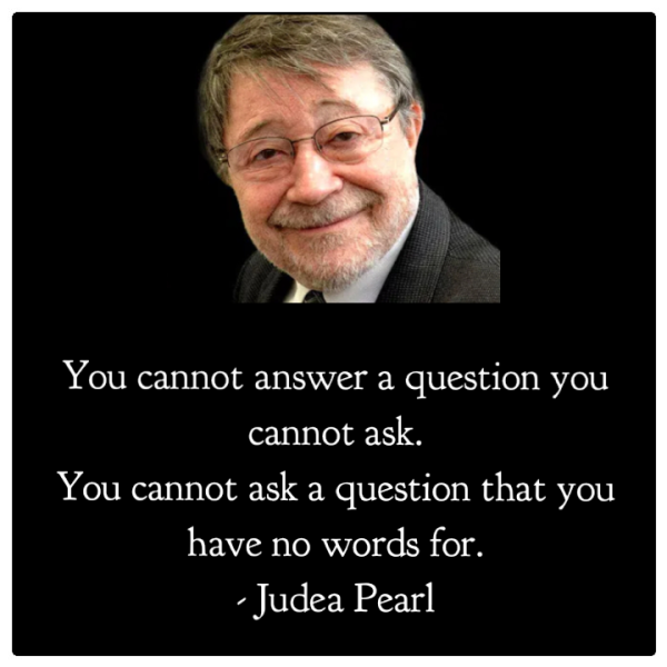 Judea Pearl quote- You cannot answer a question you cannot ask. You cannot ask a question that you have no words for.