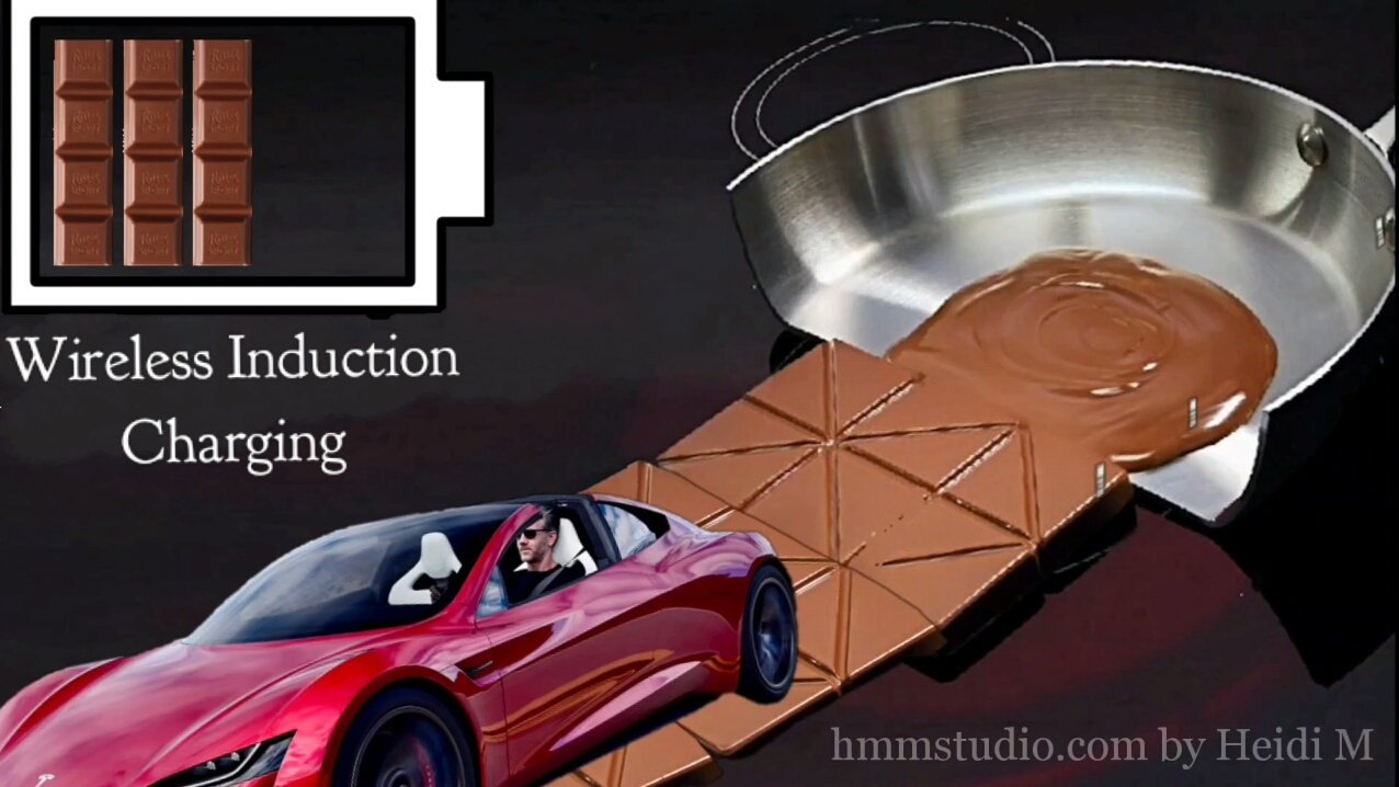 Image of half a frying pan with melted chocolate, and solid chocolate on the induction stove top, then extending into an Induction Charging road with an electric vehicle traveling across it. A large charging battery icon in the top left corner.